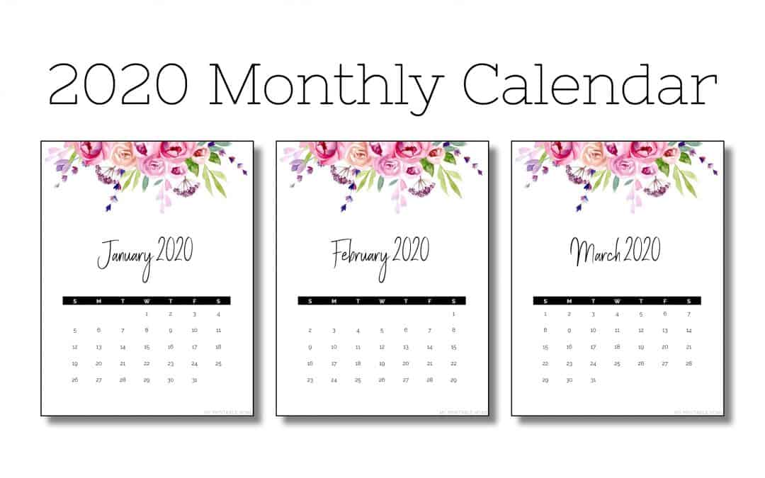 2020 Vertical Monthly Calendar (Flowers)