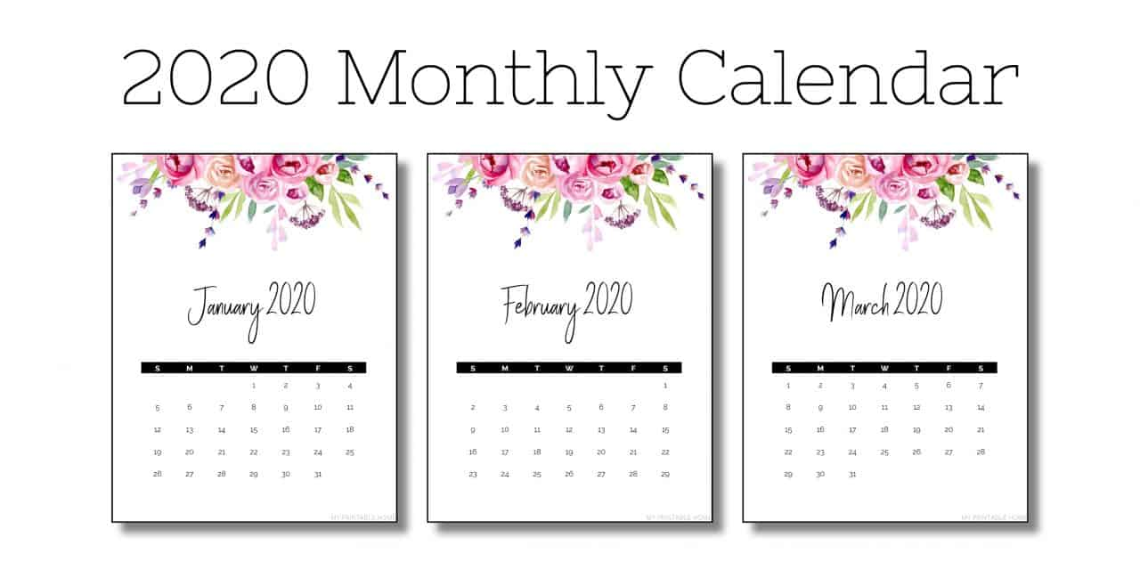 2020 Vertical Monthly Calendar (Flowers)