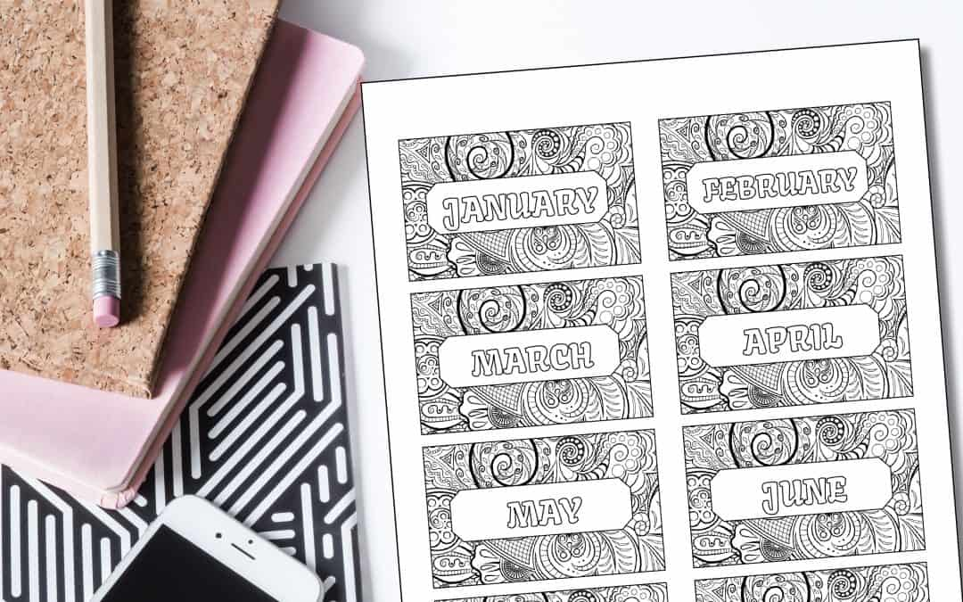 FREE Printable Monthly Coloring Bookmarks