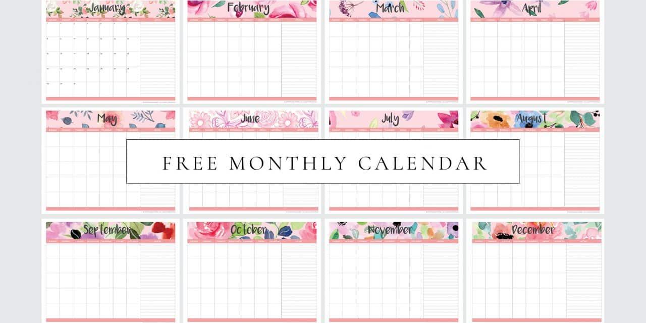 FREE Printable Monthly Planner Calendar (Undated)