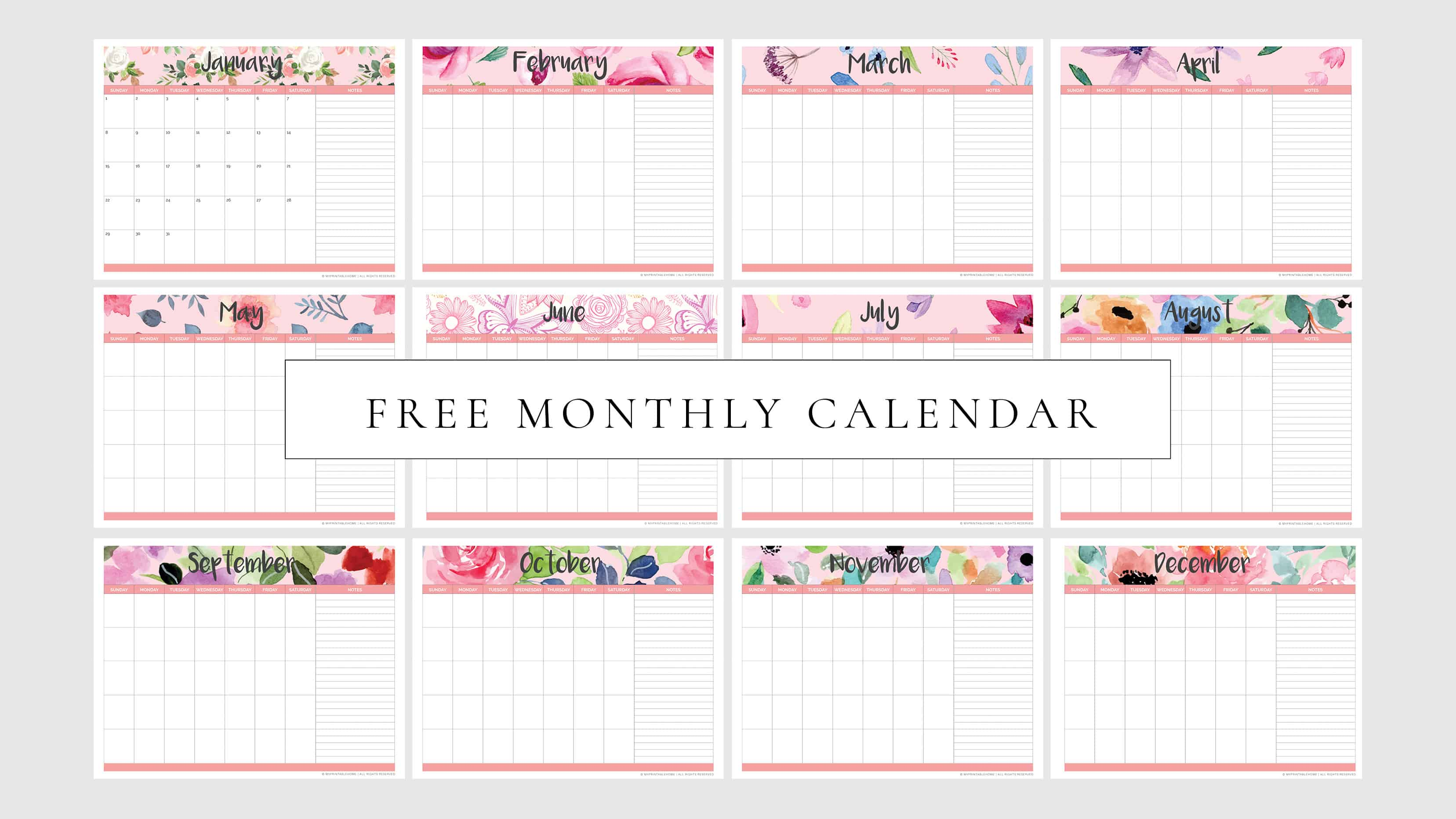 Free Printable Monthly Planner Calendar Undated My Printable Home