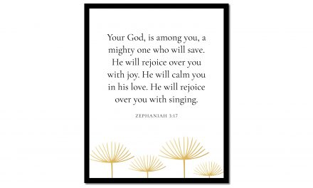 You're God is Among You – Zephaniah 3:17 (Scripture Wall Art)