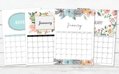 4 FREE Printable Monthly Calendars for 2020
