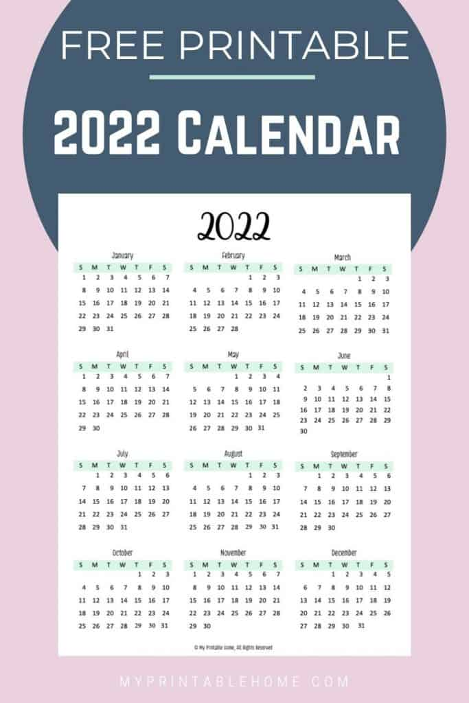 2022 Year at a Glance Calendar - My Printable Home