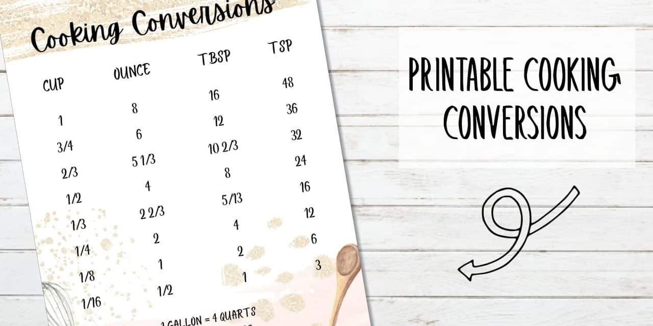 Printable Cooking Conversions