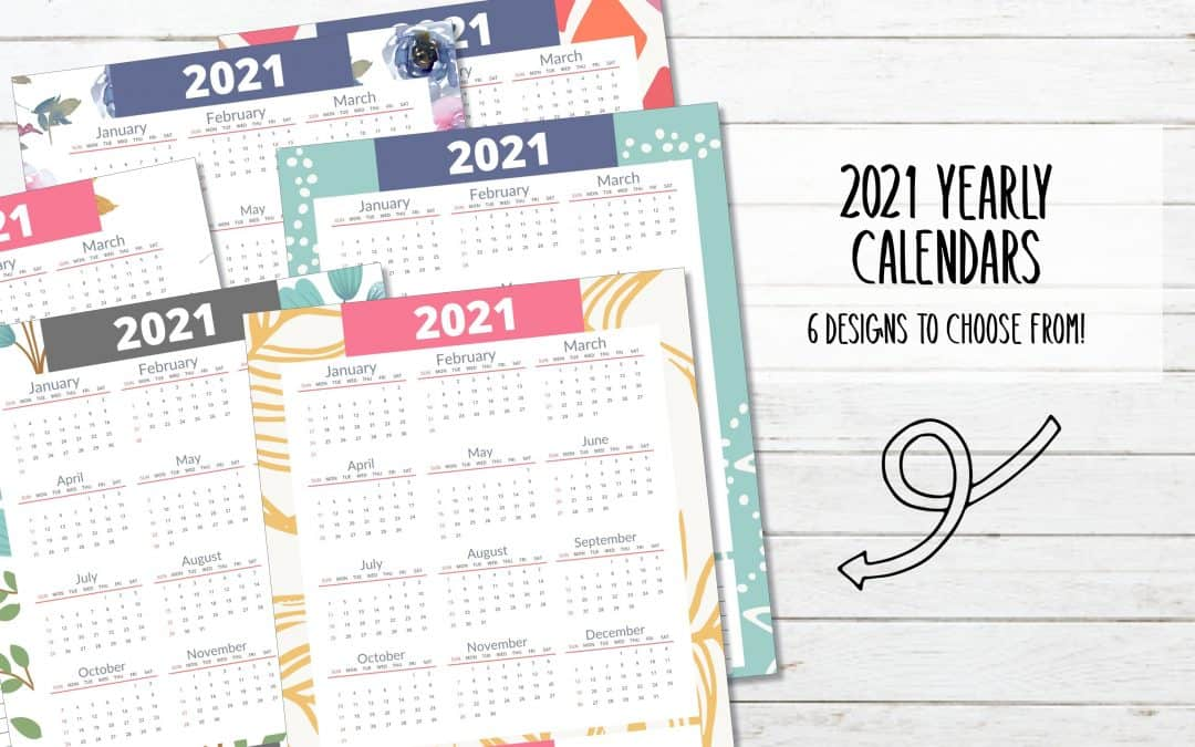 Free Printable 2021 Yearly Calendar – 6 Designs
