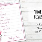 Free Printable I Love Mom Because…
